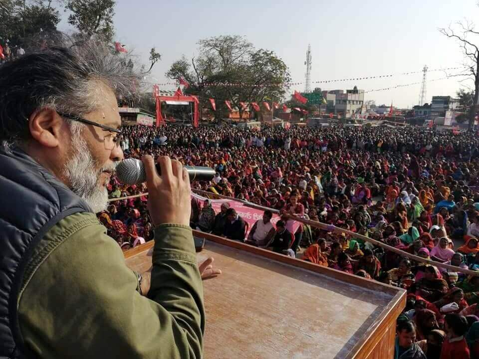 Dipankar Bhattacharya addressing the rally